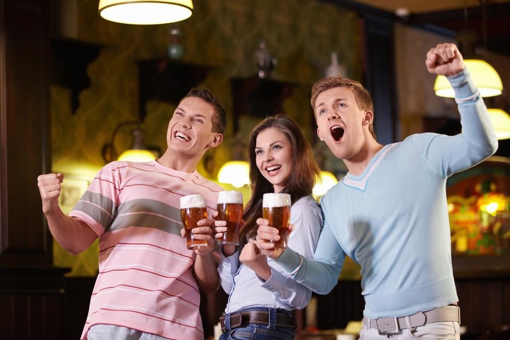 Drinking in sports bar