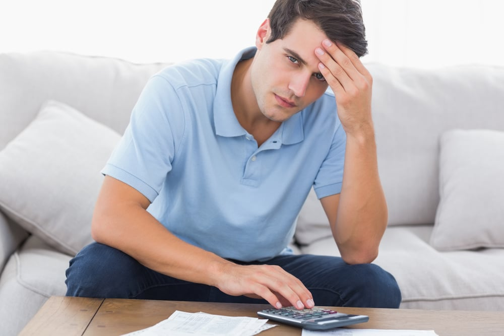 Man looking financially problematic