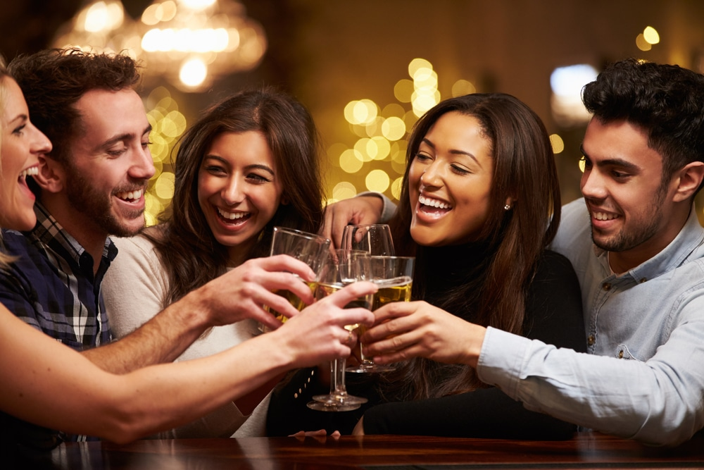 Couple having good time with friends