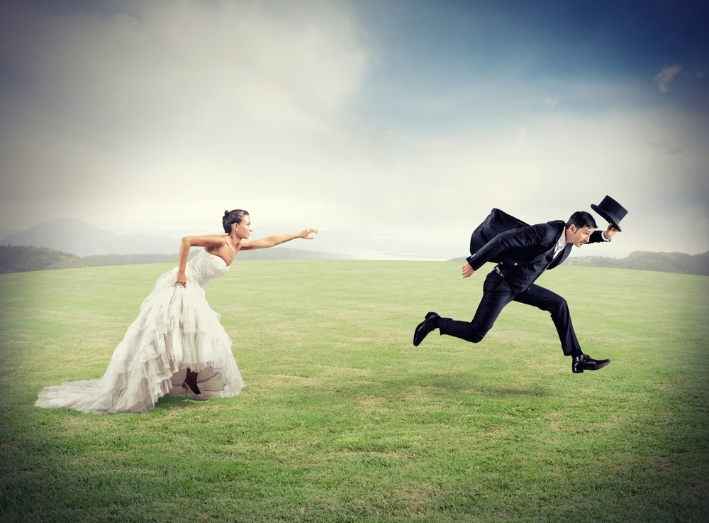 Man escaping from wedding