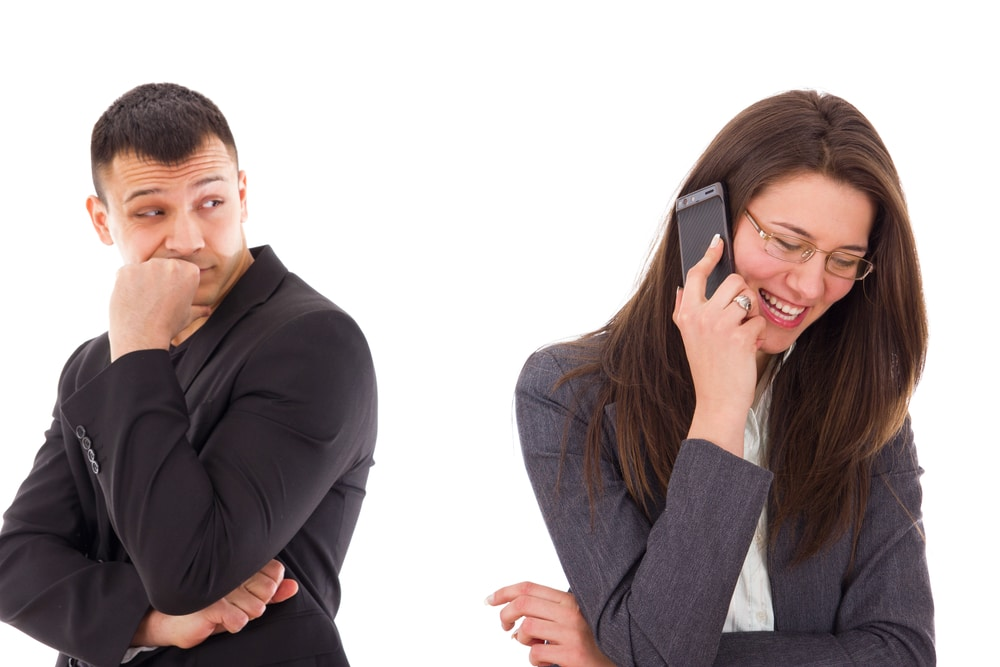 Wife talking to phone