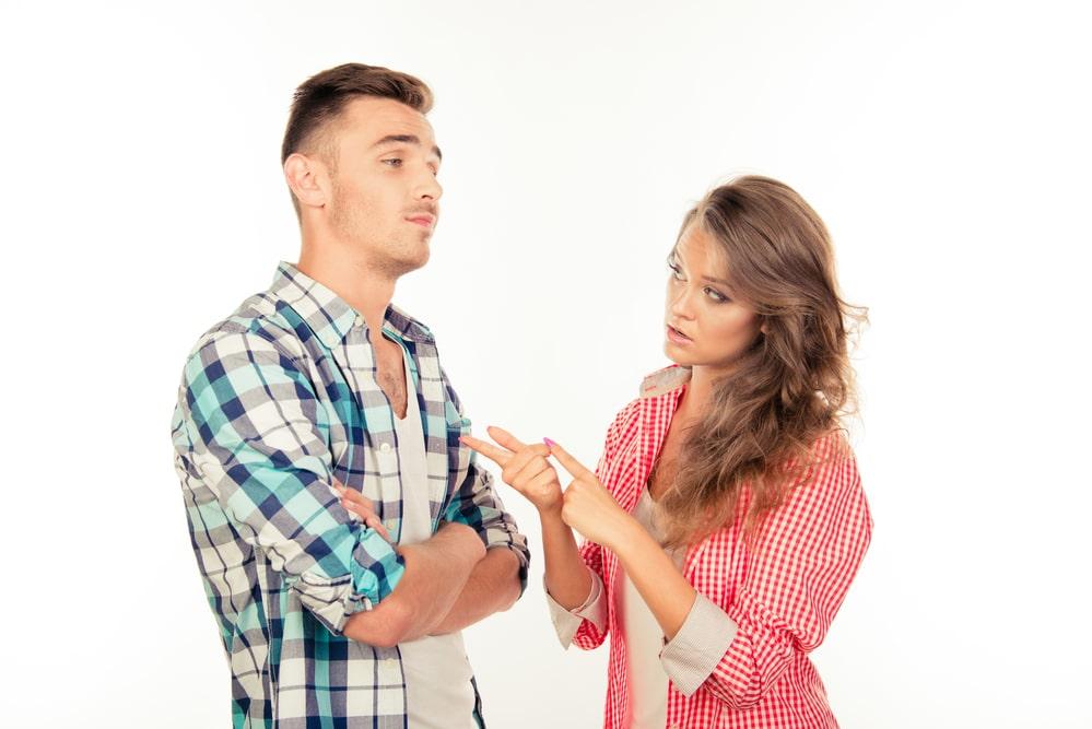 Woman explaining to boyfriend